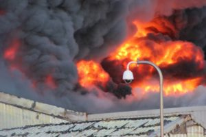 Further investigations by the RRT revealed that one of the largest fish factories situated on the harbour edge and close to the town centre was engulfed in a volcanic-like eruption of fire.