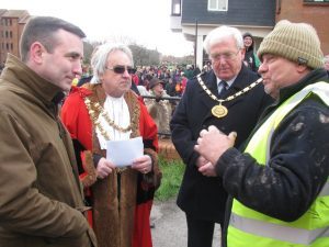 (9)Mr Paul Childs speaks to members of the PBCC, The Mayor of Bridgwater Cllr Steve Austen and The Chair of Sedgemoor Council Cllr Peter Downing.