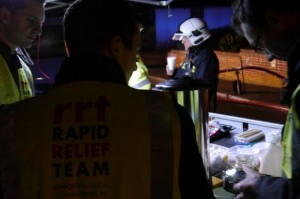 The Rapid Relief Team (RRT) were soon notified and mobilised their volunteers to attend the incident to provide refreshments and shelter for the emergency services.