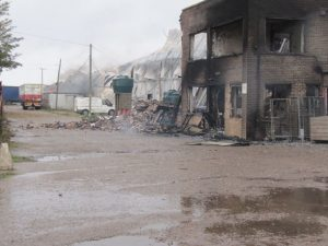 After the fire – the scene of devastation.