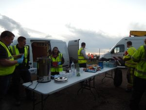 RRT serving hot drinks to the emergency services