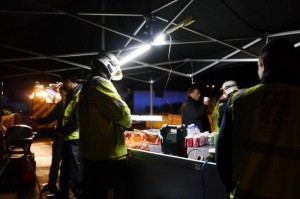 Some of the food and drink was donated by local businesses and supermarkets, and prepared and served by the RRT on site.