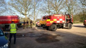 Unimog off road water tanker just refilled and heading back out to the fireground