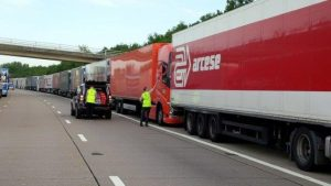 Thankfully a police escort meant they could travel the wrong way up the M20….