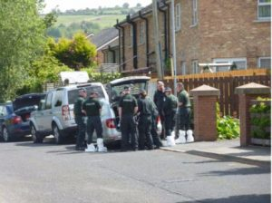Police surround the scene of where the bomb was placed.