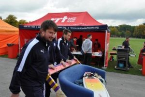 Darren McQuade of Chesterfield FC and team members show their support of the homeless and keep the Sofa moving!