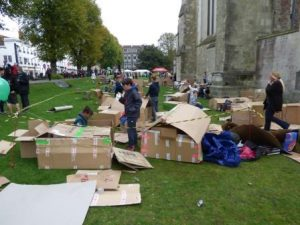 Late morning, and the shelters are beginning to take shape