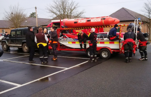 Some of the rescue flood boats