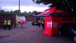 Emergency services visit the tent for refreshments