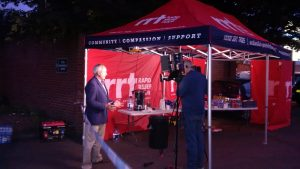 Media interviews were conducted near the RRT tent